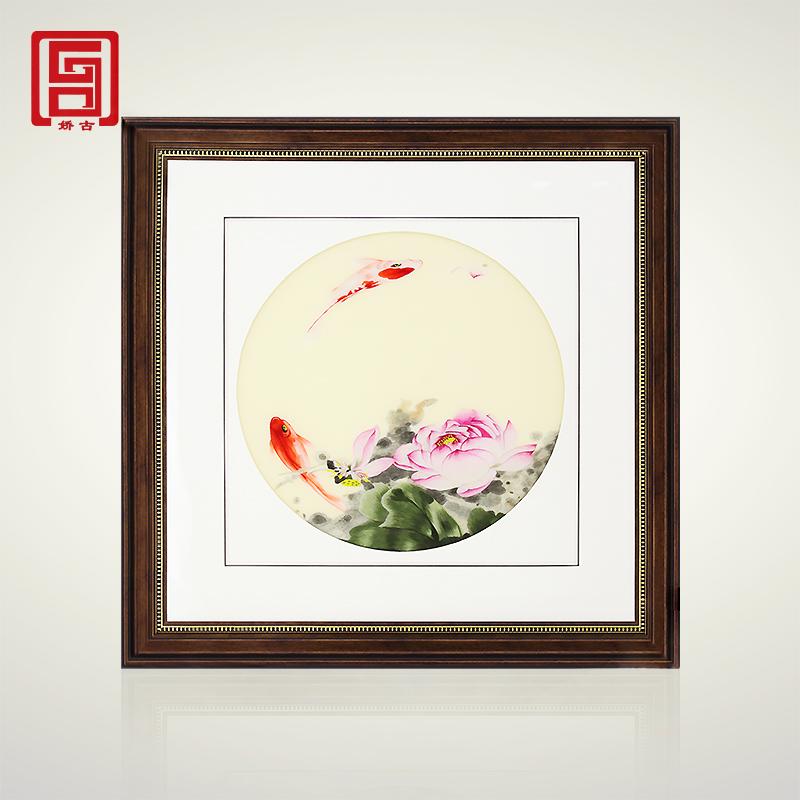 娇古苏绣 荷花鱼 单面绣手工刺绣装饰画客厅办公室墙上挂画