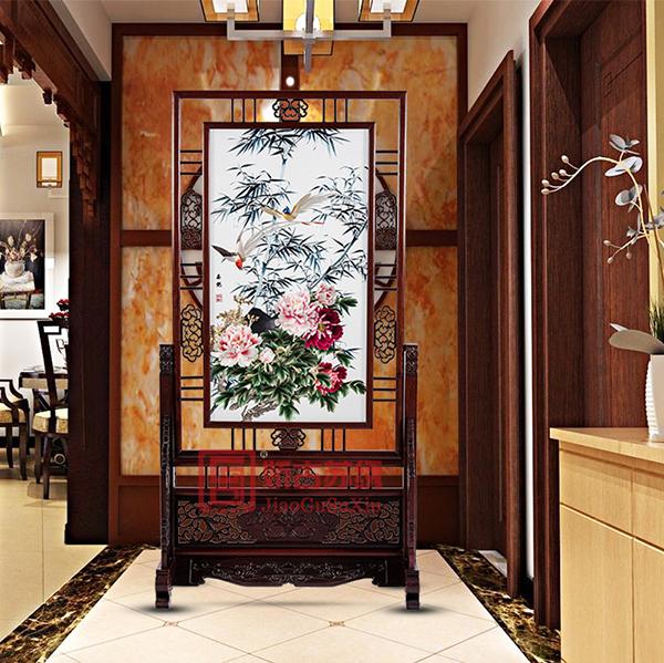 家用牡丹竖状精品屏风|居家装饰手绣双面隔断|精品绣品