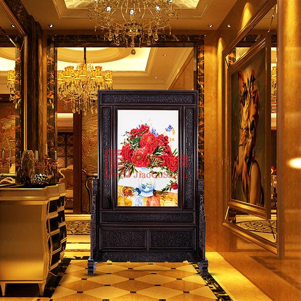 酒店会所刺绣玄关|卧室装饰工艺摆件|落地苏绣屏风