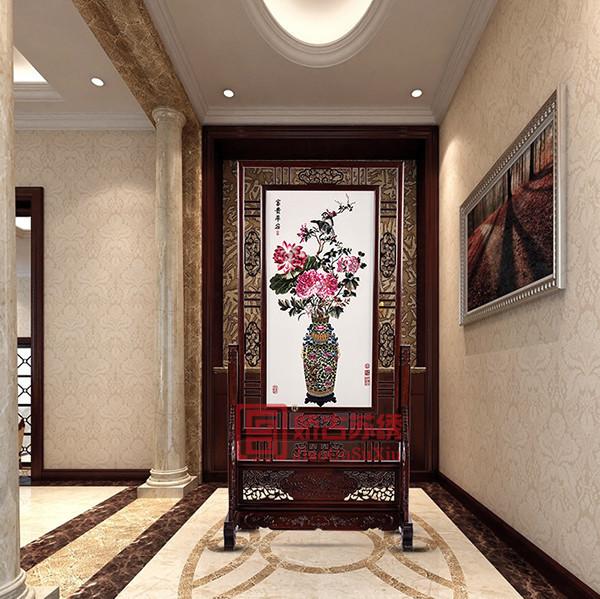 苏绣精品屏风|中式牡丹双面绣玄关|别墅装饰刺绣隔断