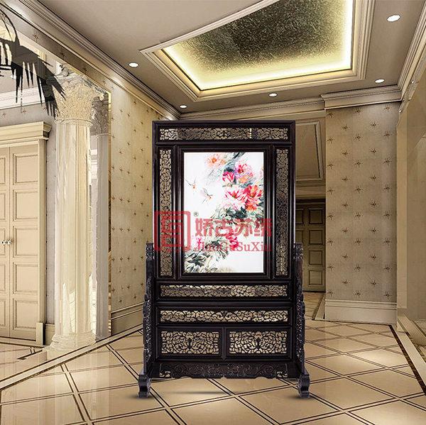 苏绣精品双面绣|餐厅刺绣玄关隔断|檀木架中式装饰屏风