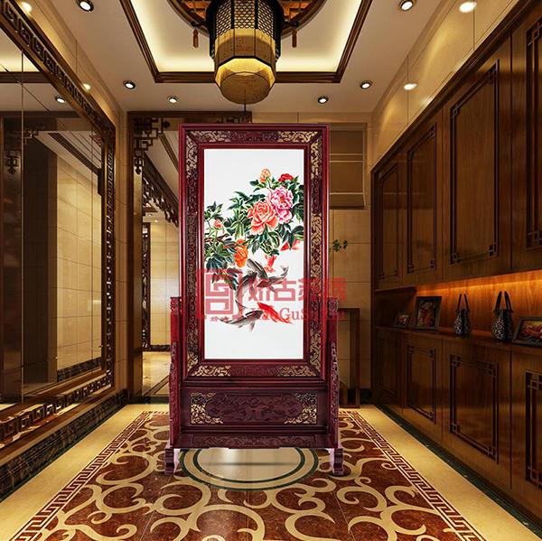 荷花鱼双面绣木雕屏风|室内装饰摆件|手工刺绣中式屏风