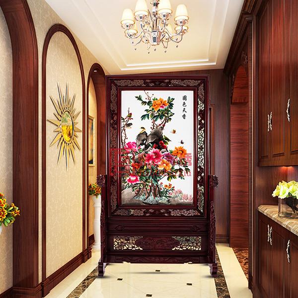 牡丹刺绣屏风成品|酒店走廊装饰屏风|中式实木屏风