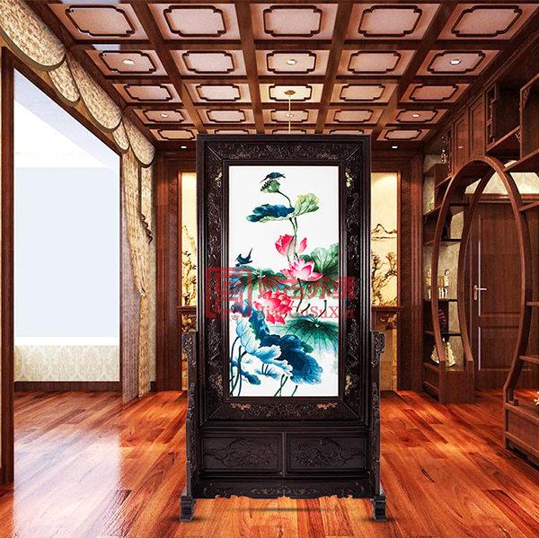 荷花苏绣插屏|现代简约实木客厅隔断屏风|刺绣双面绣屏风