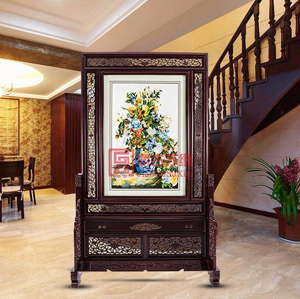 楼梯过道屏风玄关|现代客厅中式时尚隔断|双面绣座屏
