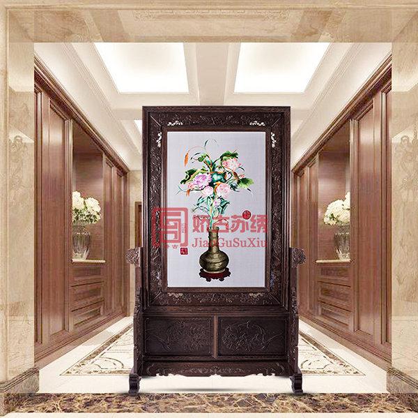 中式苏绣插屏|聚瑞图苏绣装饰屏风|餐厅卧室刺绣玄关