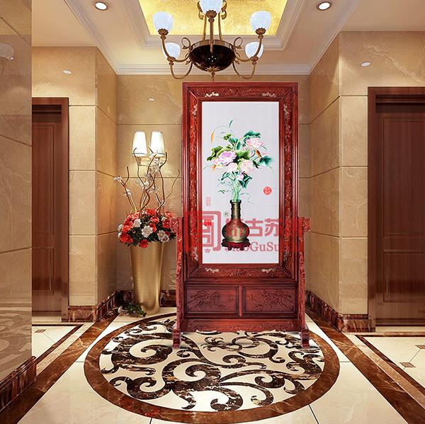 红木苏绣屏风隔断|刺绣古典题材玄关画|中式家居装饰屏风