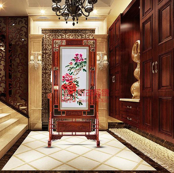 简易牡丹双面绣玄关|刺绣装饰屏风|木雕手绣屏风