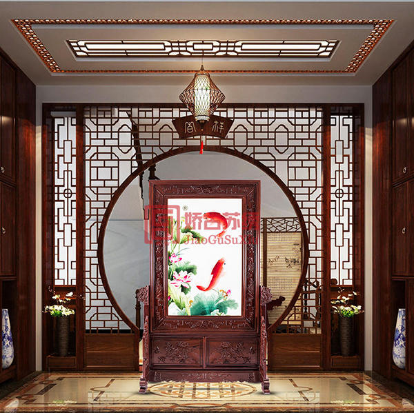 苏绣客厅装饰屏风|时尚艺术刺绣隔断|现代客厅玄关