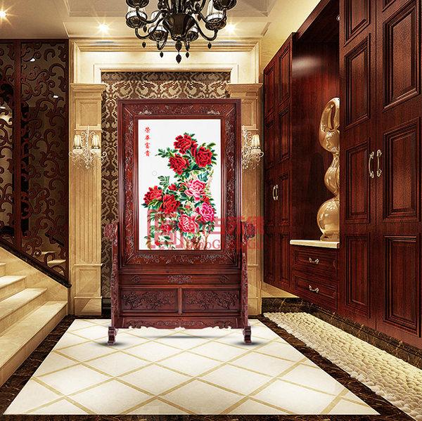 荣华富贵双面绣屏风|卧室客厅现代时尚艺术玄关|刺绣隔断