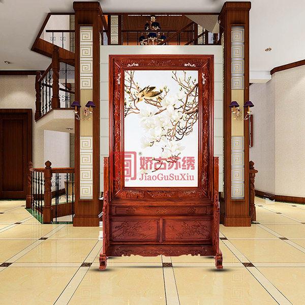 居家装饰屏风隔断 双面绣玉兰鸟屏风 中式别墅风水玄关