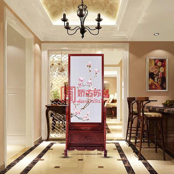 线条玉兰刺绣屏风|高尔夫会所高档玄关装饰|餐厅隔断
