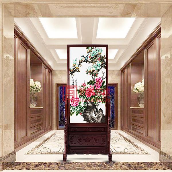 中式小型牡丹刺绣玄关|餐厅装饰隔断苏绣|双面装饰屏风