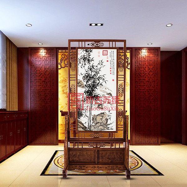 竹报平安刺绣玄关|书房中式双面绣隔断屏风|时尚创意装饰品
