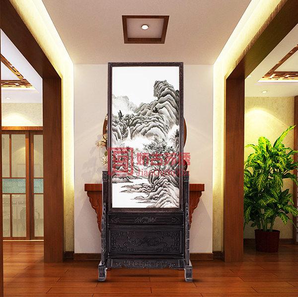手绣双面绣风景玄关|老板办公室隔断装饰|酒店装饰屏风
