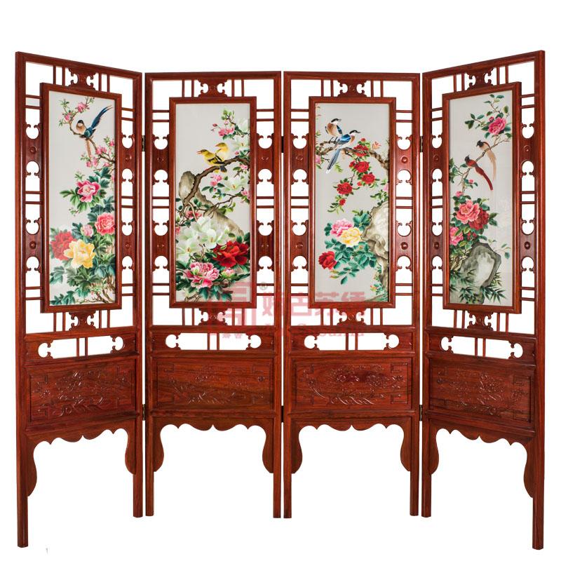 简易架花开富贵四折屏风|双面绣刺绣屏风|折叠可移动玄关