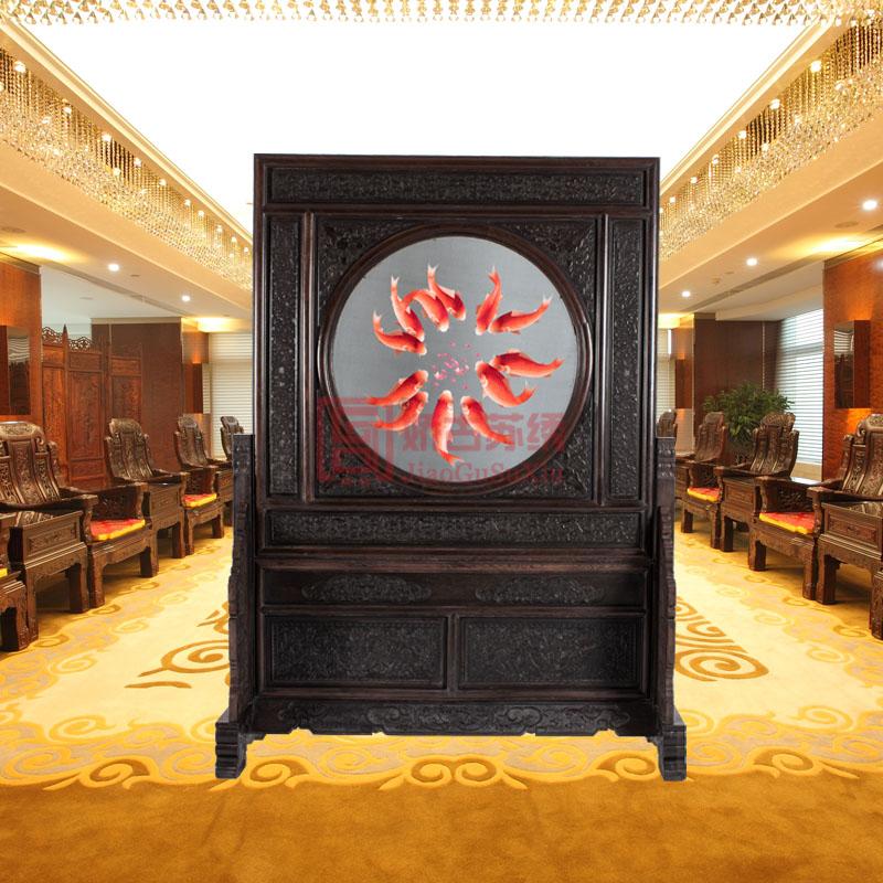 十二红鱼风水刺绣玄关|中式古典传统隔断屏风|居家玄关