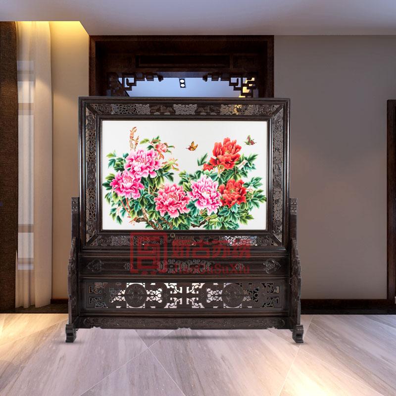 苏绣花开富贵牡丹家用玄关|双面绣落地进门隔断|古典屏风