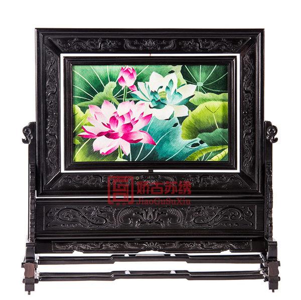 荷花双面绣台屏|居家装饰工艺摆件|中式传统礼物送老外