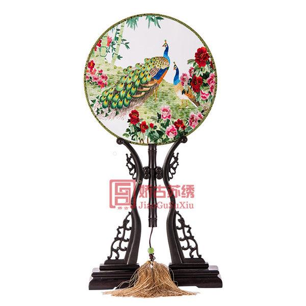 檀木团扇双面绣|手工刺绣摆件|传统民间工艺装饰品