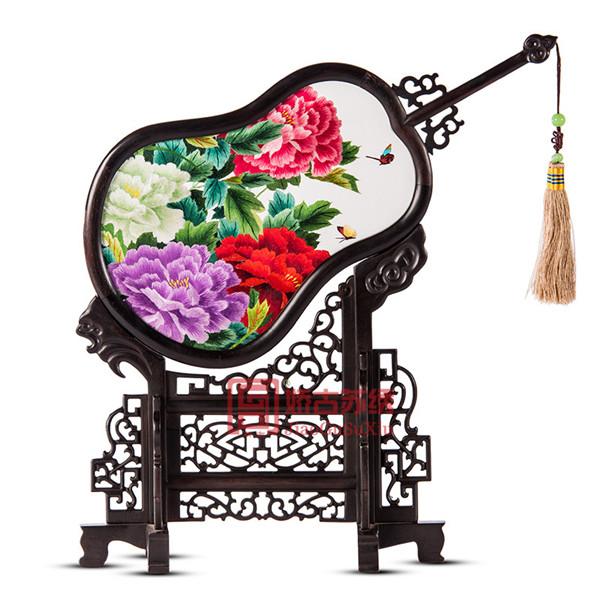 葫芦扇双面绣工艺品|苏绣装饰绣品|企业商务活动礼品