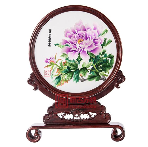 中国手工苏绣|红木双面绣台屏|卧室书房装饰摆件工艺品