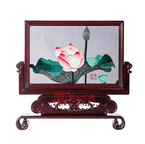 红木两面绣摆件|中国特色礼品送老外|中式仿古创意台屏