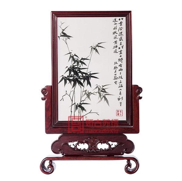 江苏出国礼品|居家装饰摆件|传统刺绣红木工艺双面绣摆件