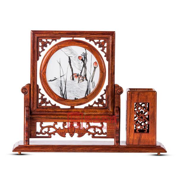苏绣创意摆件|双面绣桌面笔筒装饰品|缅甸红木办公用品