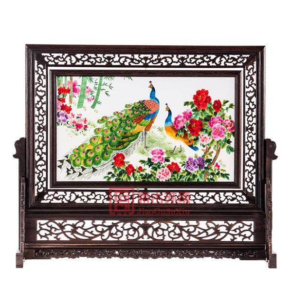 中型双面绣台屏摆件|酒店会所装饰工艺品|开业庆典纪念品