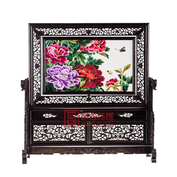 苏绣精品大型台屏|满园春色牡丹两面绣摆件|传统中国刺绣