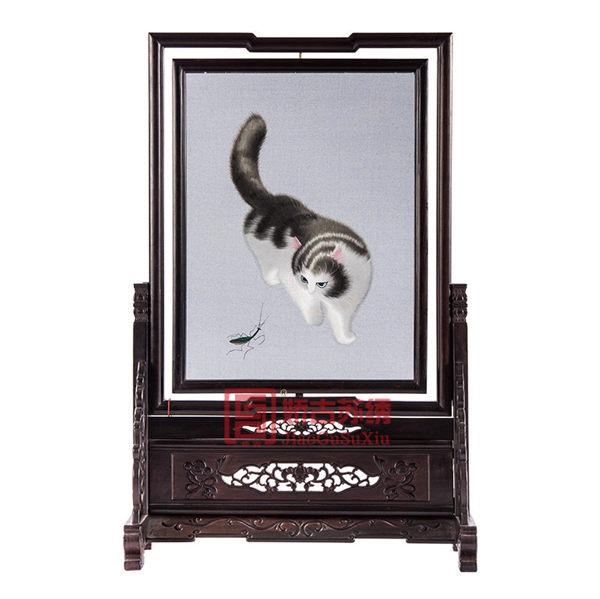苏绣代表作螳螂猫|异面绣双面绣摆件|中国刺绣国礼