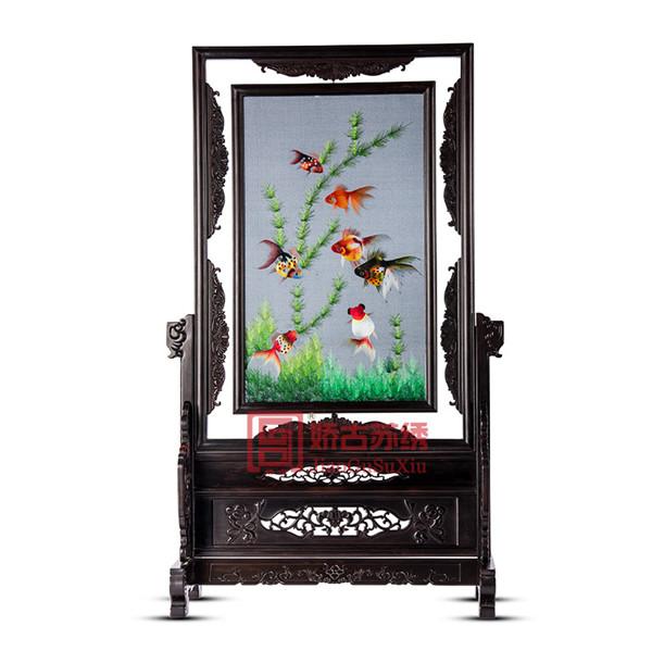 金鱼水草精致双面绣摆件|刺绣木雕工艺品|中国风礼品