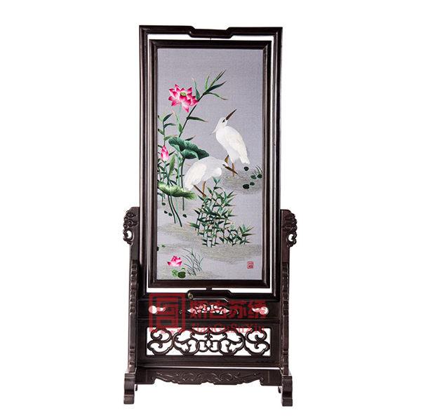 白鹭荷花双面绣台屏|简易架刺绣可旋转摆件|居家装饰精品