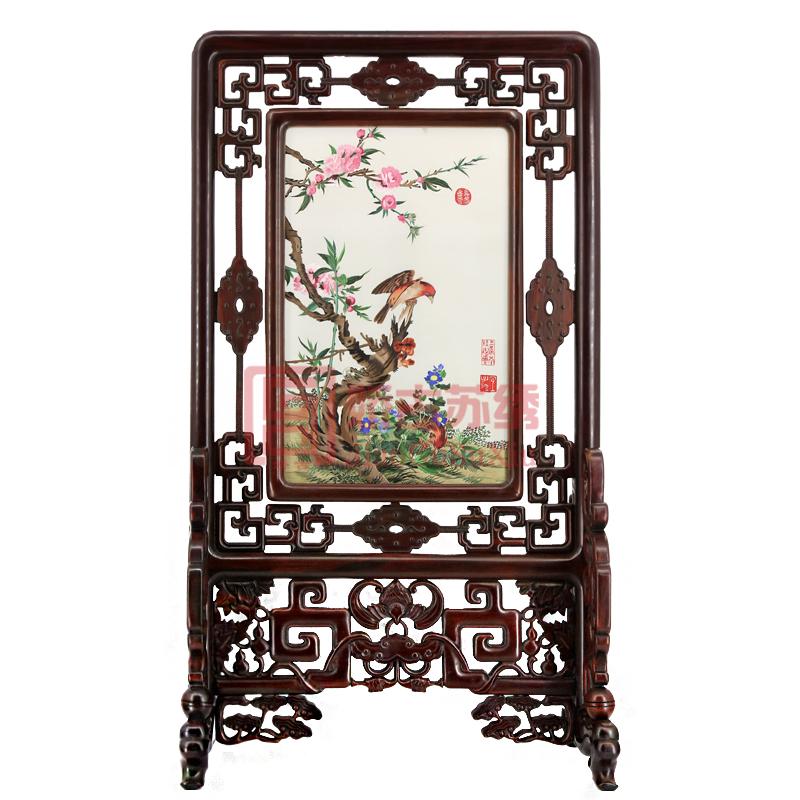 娇古苏绣双面绣摆件|红木刺绣台屏|传统手工艺商务礼品
