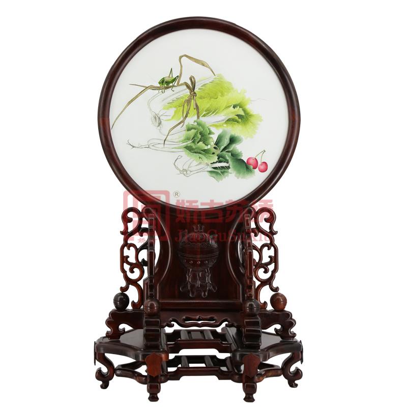 娇古双面苏绣台屏摆件|中式家庭办公摆件苏州特色手工艺品