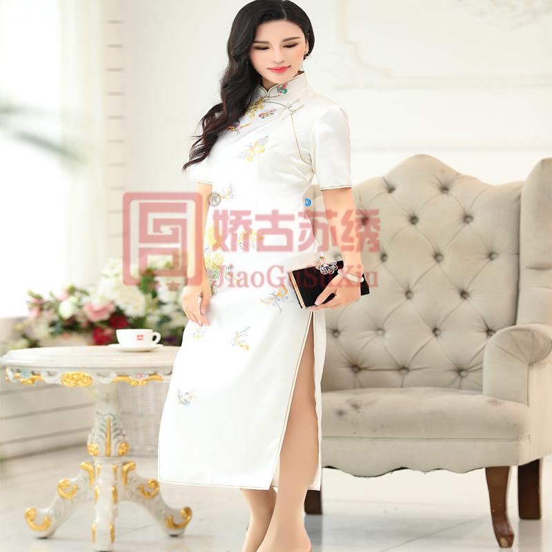 苏绣旗袍 |手工刺绣白色蝴蝶牡丹收腰修身短袖长款手工盘扣