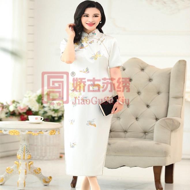 苏绣旗袍  手工刺绣白色蝴蝶牡丹收腰修身短袖长款手工盘扣