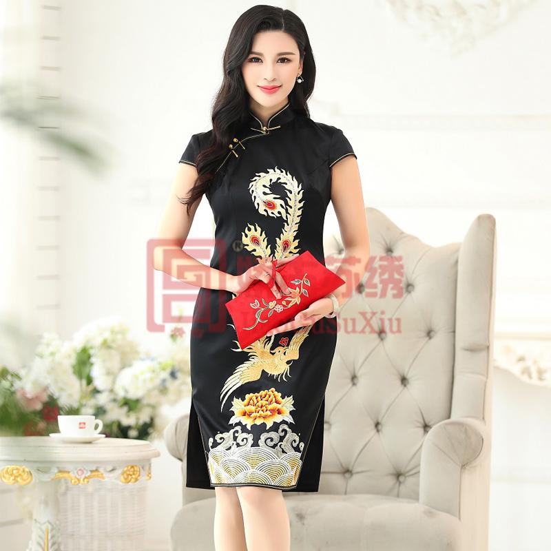 黑色短袖短款双侧开叉凤凰牡丹海纹祥云熟女创意旗袍定制华服礼服中国风
