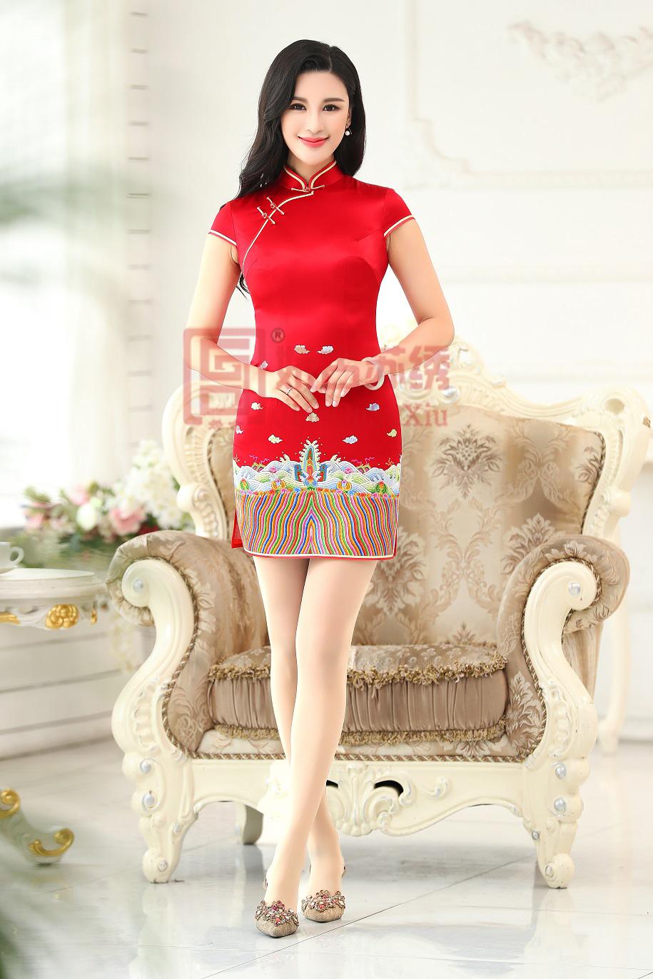 手绣华服 真丝礼服 中国红短款海纹祥云敬酒服 中式结婚礼服 订婚穿