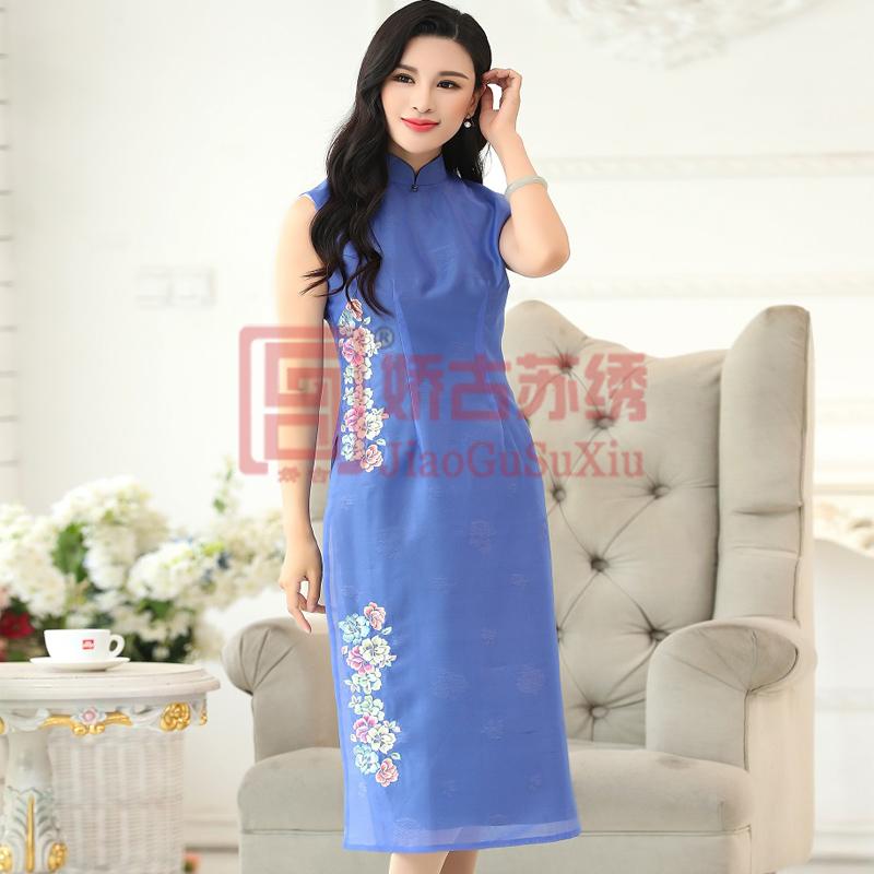 手绣蓝色欧根紗双层立领收腰中式双侧开叉无袖修身带暗花古典唯美中式小礼服