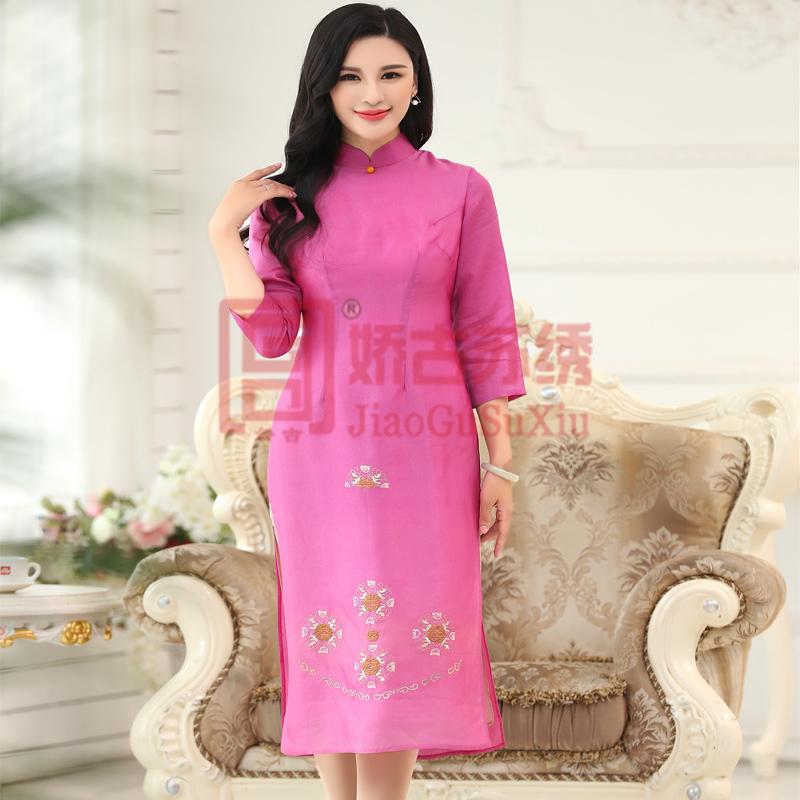 手绣长裙双层欧根紗七分袖高开叉17年春季新款玫红色显身材精致唯美中国风时装