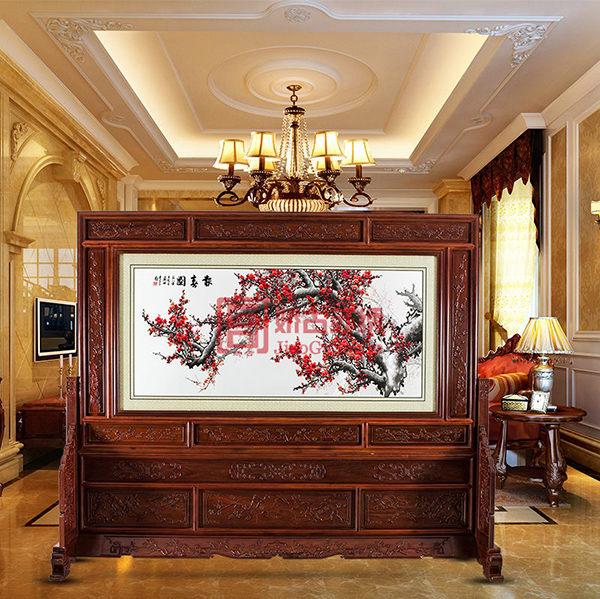 报春图双面绣落地屏风|移动式木雕酒店屏风|装饰屏风