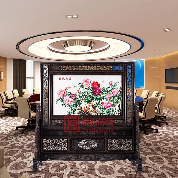 企业办公装饰刺绣屏风|双面绣木雕现代屏风|家具屏风
