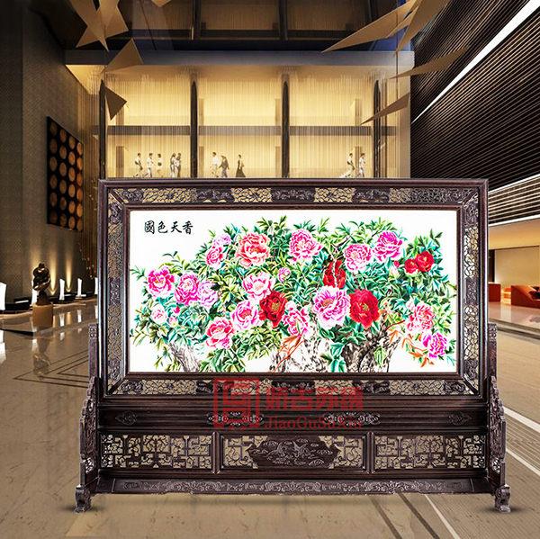 酒店会所大堂中式屏风|刺绣屏风厂家|现代艺术屏风