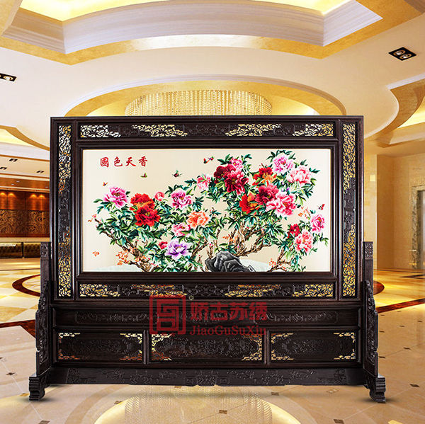单位大厅屏风隔断|中式双面绣艺术装饰|鸡翅木古典绣