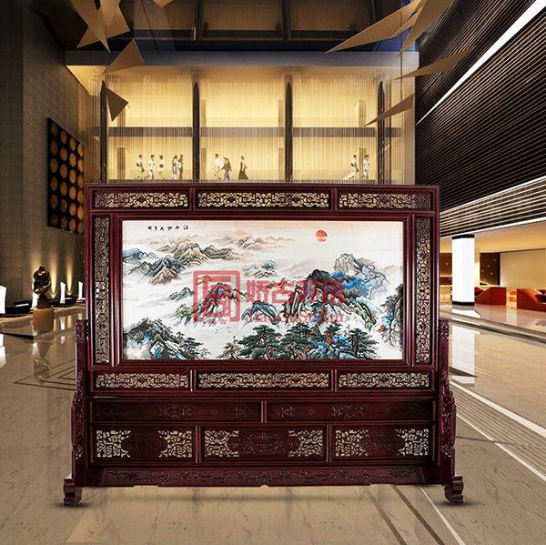 江山如此多娇双面绣屏风|大型中式木雕大堂屏风