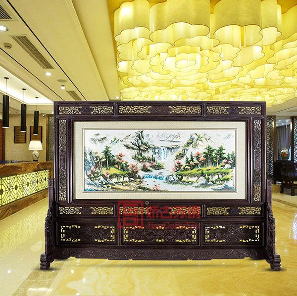 苏州刺绣大型风景屏风|大堂落地屏风|两面绣装饰隔断