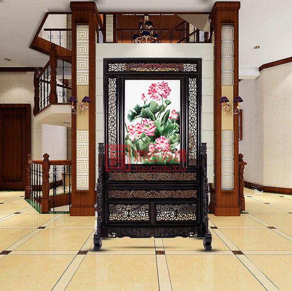 紫光檀精品刺绣屏风|客厅楼道双面绣隔断|镂空木雕屏风