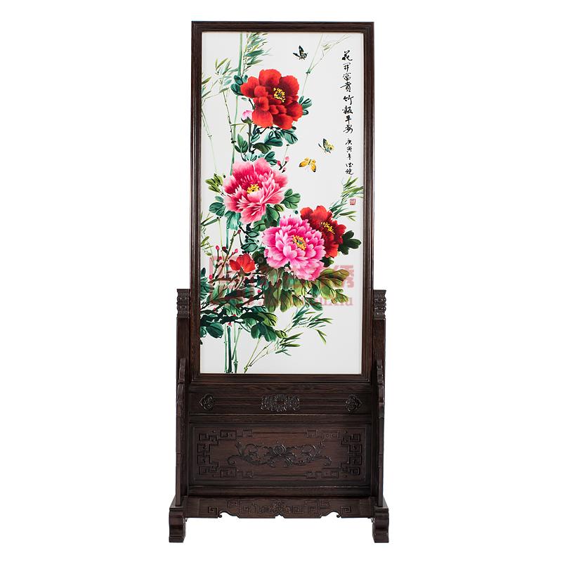 中式屏风双面绣玄关|牡丹客厅隔断|居家装饰摆件
